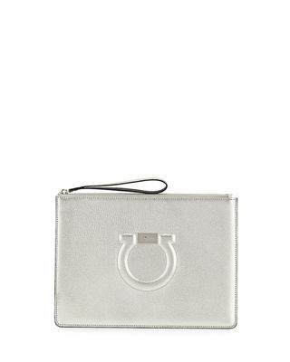 Salvatore Ferragamo Gancio City Metallic Leather Wristlet Pouch