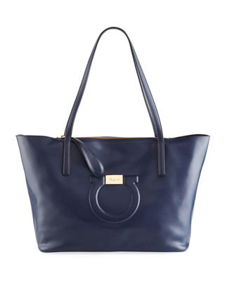 City Quilted Gancio Leather Tote - Blue, Navy