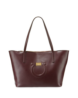 Salvatore Ferragamo Gancio City Leather Shoulder Tote Bag