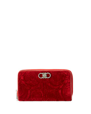 Salvatore Ferragamo Gancio Quilting Velvet Wallet on a