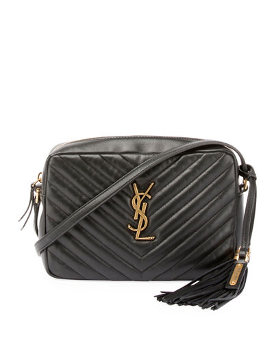 Loulou Monogram YSL Medium Chevron Quilted Leather Camera Shoulder Bag - Brilliant Golden Hardware