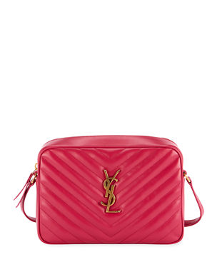 a5529250f85a Saint Laurent Loulou Monogram YSL Medium Chevron Quilted Leather Camera  Shoulder Bag - Brilliant Golden Hardware