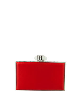 Satin Coffered Rectangle Clutch Bag, Red