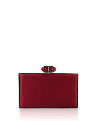 Satin Coffered Rectangle Clutch Bag