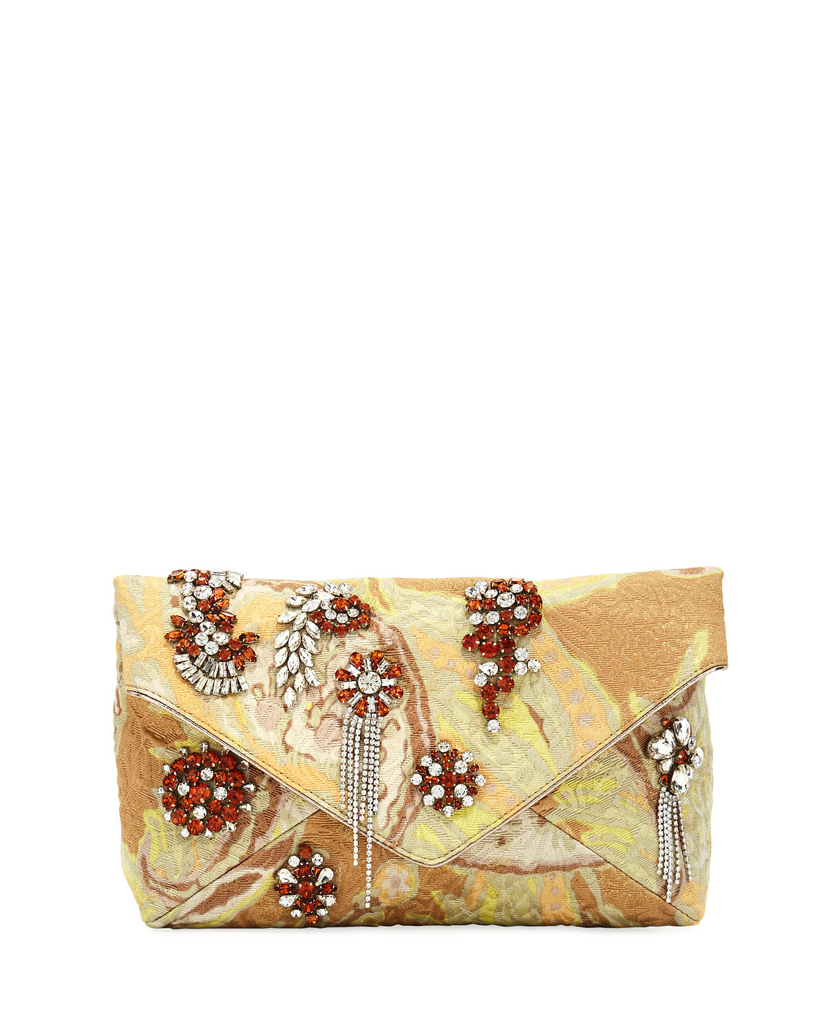 Jeweled Metallic Envelope Clutch Bag