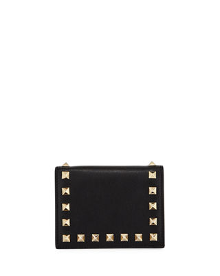 Rockstud Leather Flap French Wallet in Black