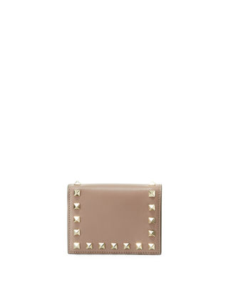 ROCKSTUD LEATHER FLAP FRENCH WALLET