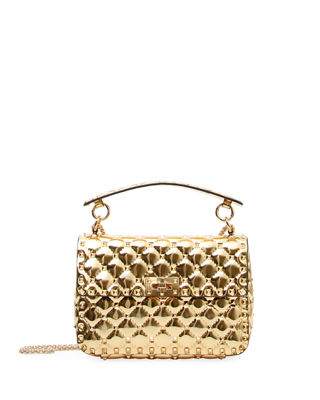 Metallic Rockstud Spike Crossbody Bag in Gold Metallic Calf Valentino