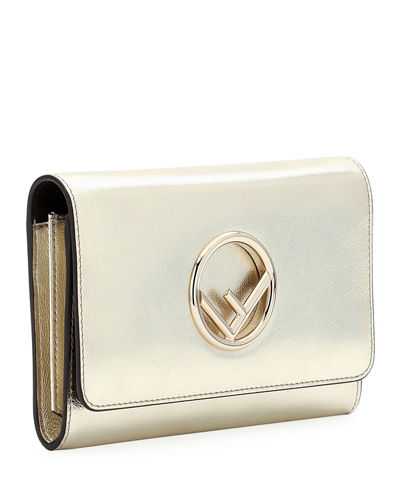 F Logo Metallic Calf Catalan Wallet On A Chain