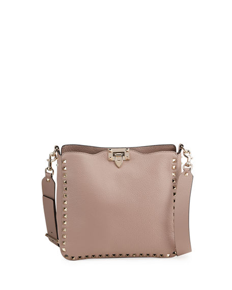 Image 1 of 4: Valentino Garavani Rockstud Small Vitello Leather Hobo Bag