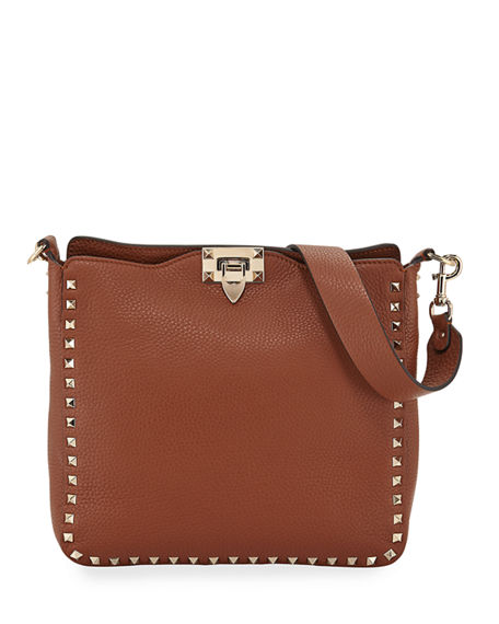 Valentino Garavani Rockstud Small Vitello Leather Hobo Bag