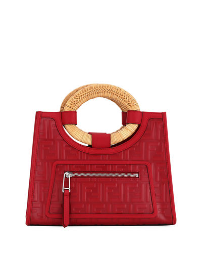 Fendi Runaway Small FF Embossed Calf Shopping Tote Bag