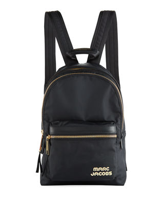 Medium Canvas Backpack With Metal Logo, Black