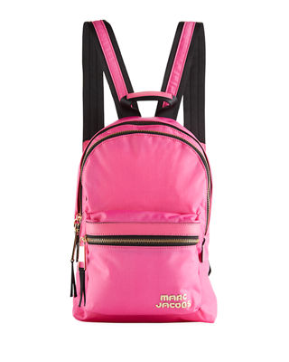 Medium Canvas Backpack With Metal Logo in Pink