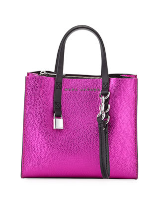 Marc Jacobs Grind Mini Metallic Leather Shopper Tote