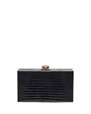 Edie Parker Jean Lizard Framed Box Clutch Bag