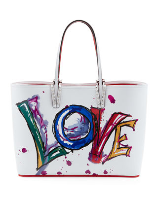 Cabata Paris Love Embellished Leather Tote - White, White / White