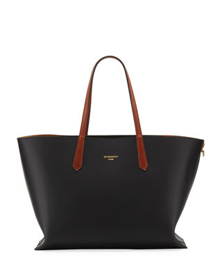 Gv Medium Smooth Leather Shopper Tote Bag, Black
