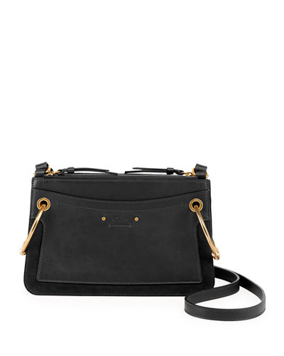 Roy Mini Leather/Suede Double-Zip Shoulder Bag
