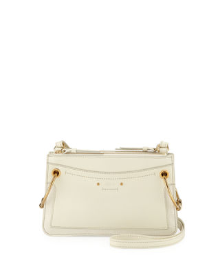 Roy Small Leather & Suede Shoulder Bag - White