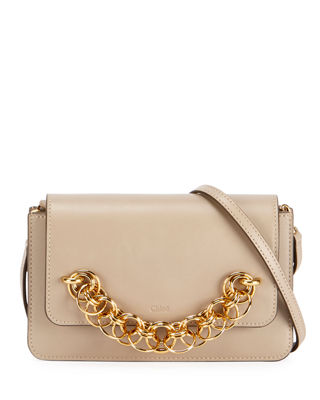 Drew Bijou Leather Clutch Bag in Light Gray