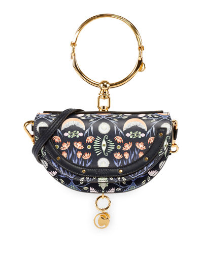 Nile Artistic Print Minaudiere Clutch Bag with Bangle Handle