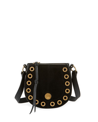 Kriss Mini Grommet Suede Saddle Shoulder Bag