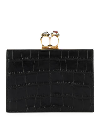 Jeweled Double Ring Crocodile-Embossed Clutch Bag - Golden Hardware in Black