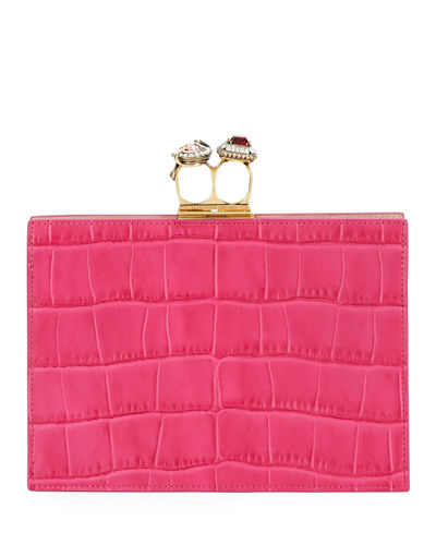 Jeweled Double Ring Crocodile-Embossed Clutch Bag