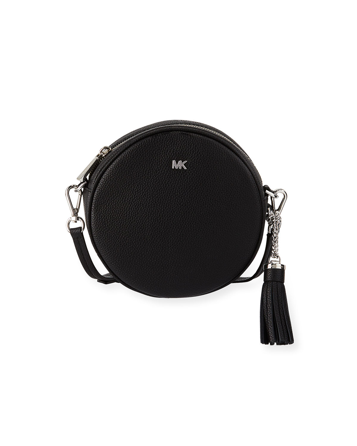 Canteen Medium Round Leather Crossbody Bag - Silvertone Hardware