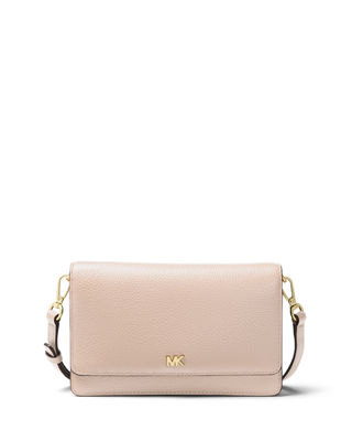 Leather Phone Crossbody Wallet, Soft Pink