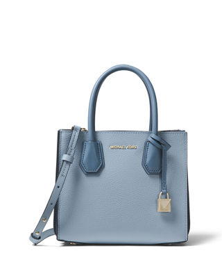 Michael Kors Pale Blue Mercer Grained Leather Tote Bag