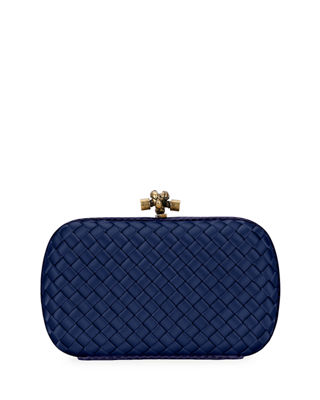 Intrecciato satin and watersnake clutch