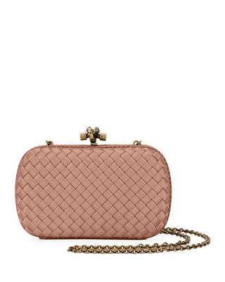 The Knot Watersnake-Trimmed Intrecciato Satin Clutch, Blush