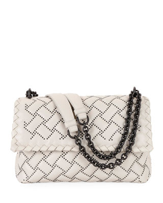 Small Olympia Studded Leather Shoulder Bag - Grey, Off White