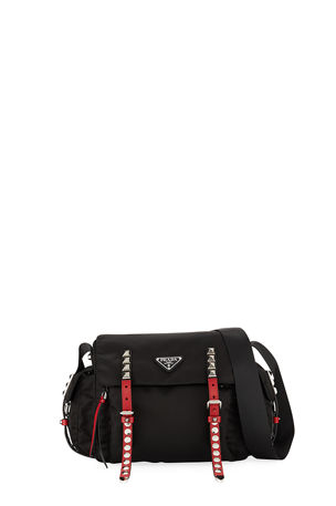 Prada Prada Black Nylon Messenger Bag with Studding