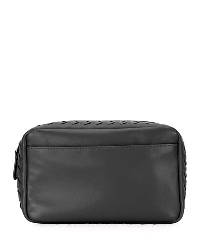 Small Zip Top Leather Cosmetic Pouch