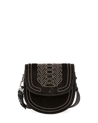 Ghianda Mini Stud-Embellished Suede Bag, Black