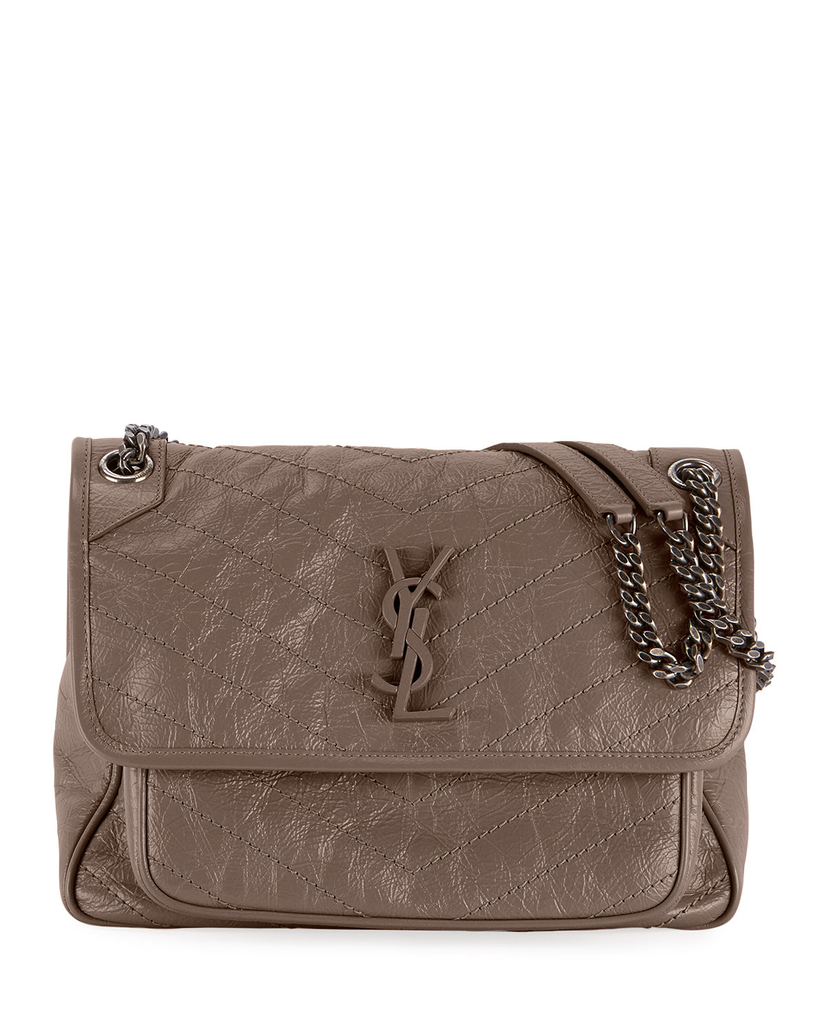 8460f38ffc Saint Laurent Niki Medium Monogram Ysl Shiny Waxy Quilted Shoulder Bag In  Light Gray