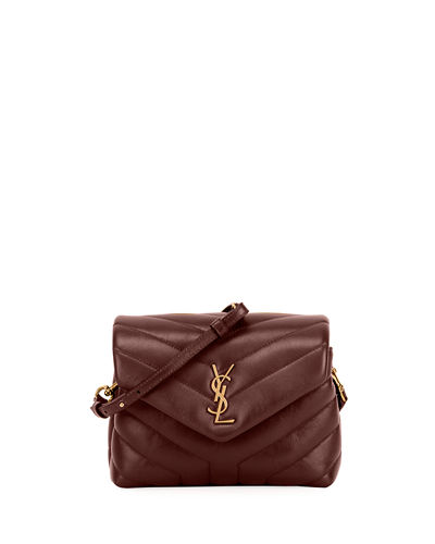 Loulou Monogram YSL Mini V-Flap Calf Leather Crossbody Bag - Lt. Bronze ...
