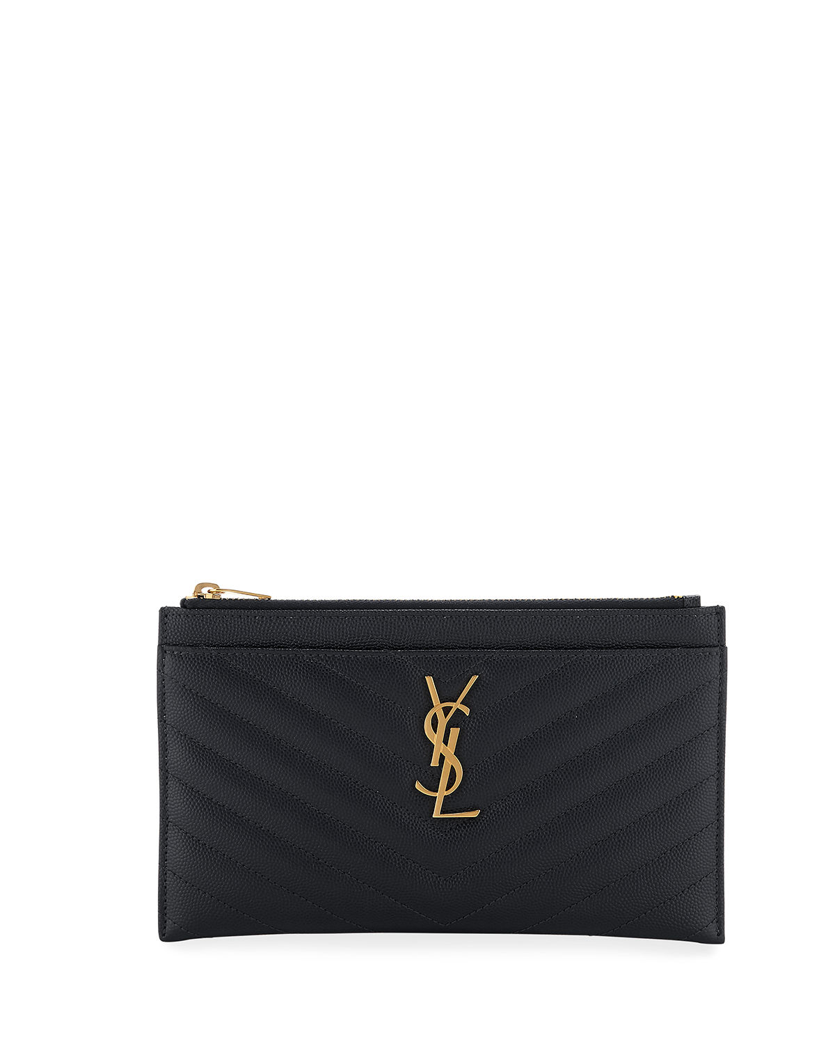 Saint Laurent Monogram YSL Matte Quilted Bill Pouch Wallet  47e065e6b5ddf