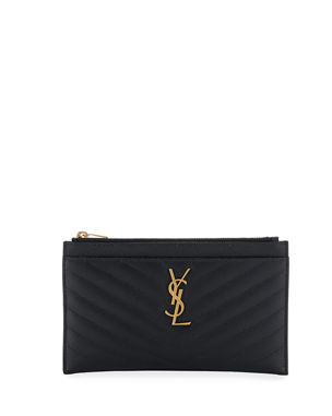 5252ce77dc Saint Laurent Monogram YSL Matte Quilted Bill Pouch Wallet