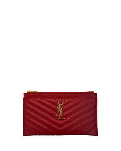 Monogram YSL Matte Quilted Bill Pouch Wallet