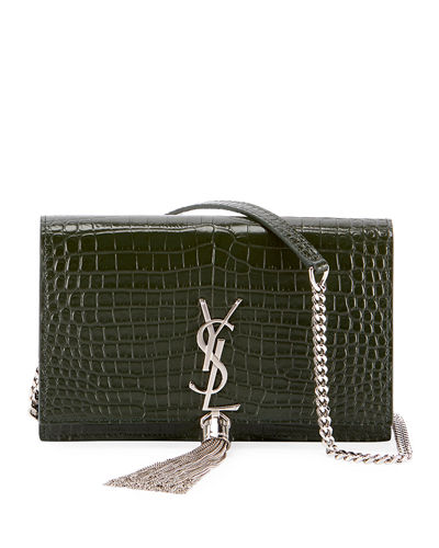 Kate Monogram Tassel Croco Wallet on Chain Bag - Miroir Hardware