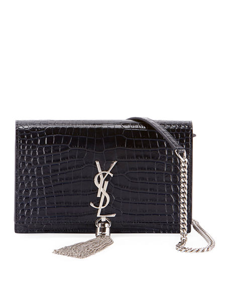 Saint Laurent Kate Monogram YSL Tassel Croco Wallet on Chain Bag - Miroir Hardware | Neiman Marcus