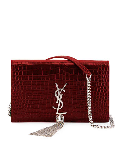 Kate Monogram YSL Tassel Croco Wallet on Chain Bag - Miroir Hardware