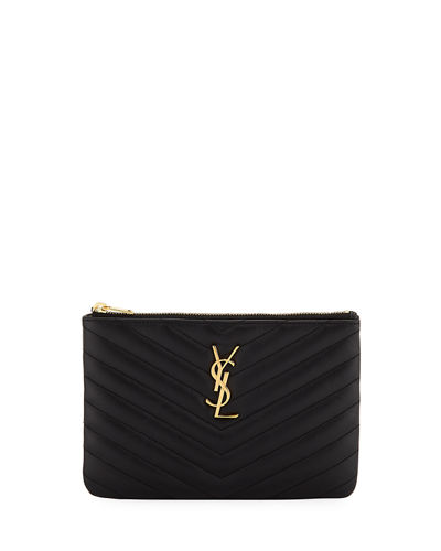 56028152a13d Quick Look. Saint Laurent · Monogram YSL Small Chevron Quilted Zip-Top  Pouch Bag - Golden Hardware