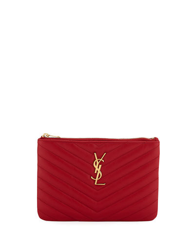 Monogram YSL Small Chevron Quilted  Zip-Top Pouch Bag - Golden Hardware