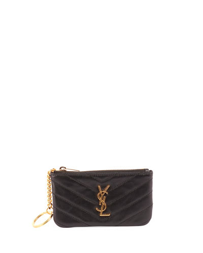 Loulou Monogram YSL Mini Quilted Leather Zip Pouch with Key Ring - Golden Hardware