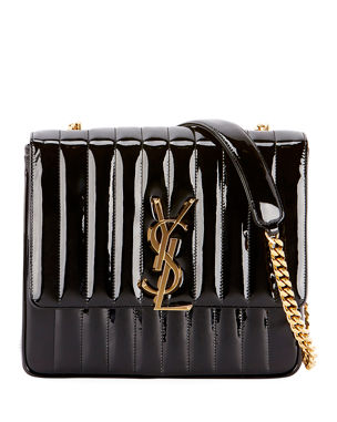 cf108315318d Saint Laurent Vicky Monogram YSL Large Quilted Patent Chain Crossbody Bag